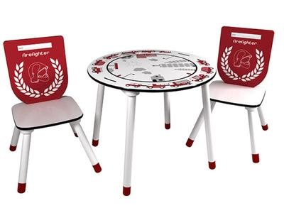 Set table+2 chaises Pompier