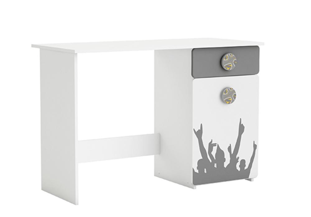Bureau 1 porte 1 tiroir foot blanc perle for Meuble bureau 76