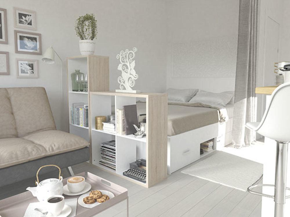 bibliotheque 4 niches hollow chene blanc. Black Bedroom Furniture Sets. Home Design Ideas