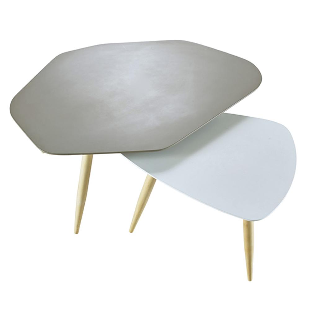 2 Tables Basses Table Basse Blanche Vitrée Les Tournesols