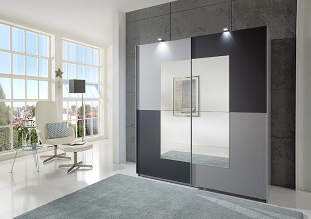 armoire 2 portes taifun anthracite aluminium. Black Bedroom Furniture Sets. Home Design Ideas