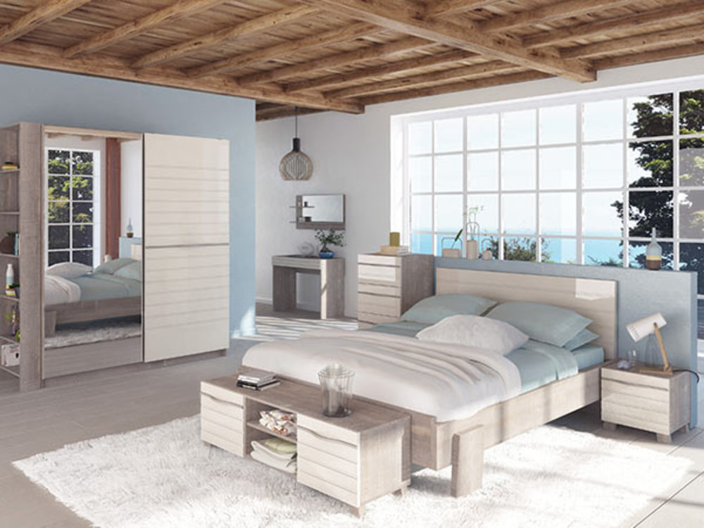 bout de lit marina chene lin laque brillant ivoire. Black Bedroom Furniture Sets. Home Design Ideas