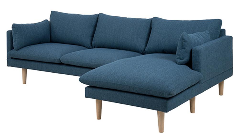 canape d 39 angle droite sunderland bleu. Black Bedroom Furniture Sets. Home Design Ideas