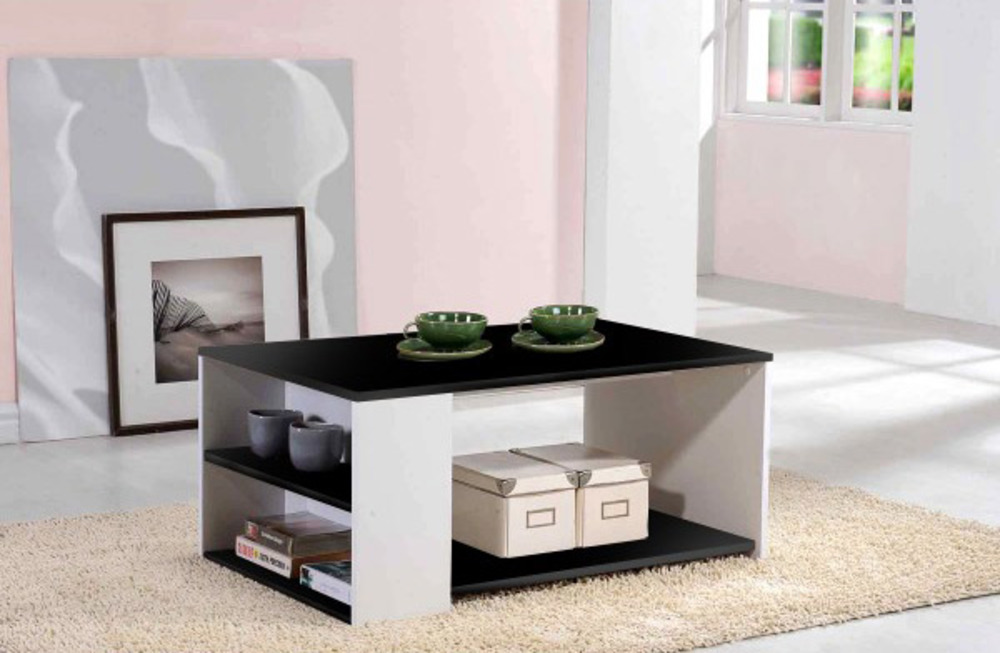Table basse leader blanc noir - Table basse ouvrable ...