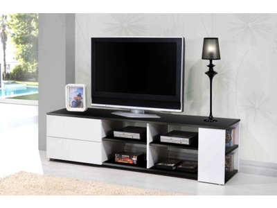 Meuble tv electra laque blanche blanc brillant for Mini meuble tv