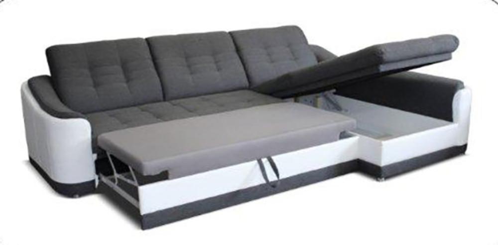 Canap d 39 angle convertible gauche bray pu blanc gris - Salon sans canape ...