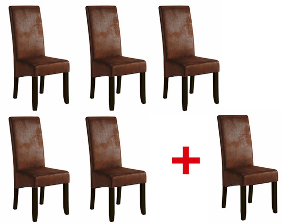 Lot de 5 chaises 1 offerte sagua marron vintage for Chaises cuir marron salle manger