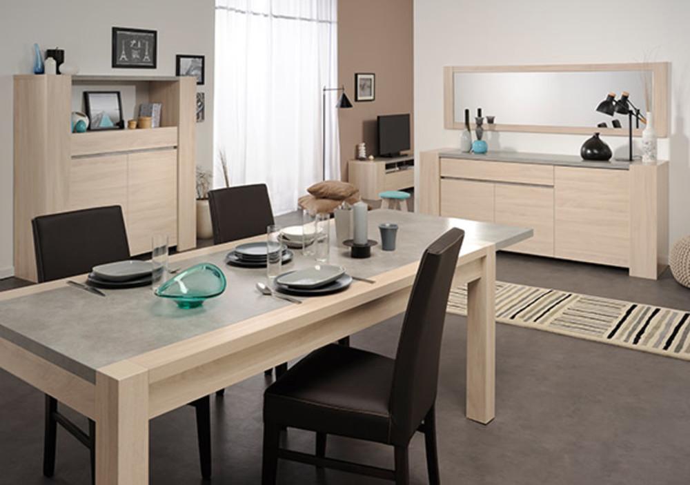 bahut 3 portes 1 tiroir gospel chene sesame beton. Black Bedroom Furniture Sets. Home Design Ideas