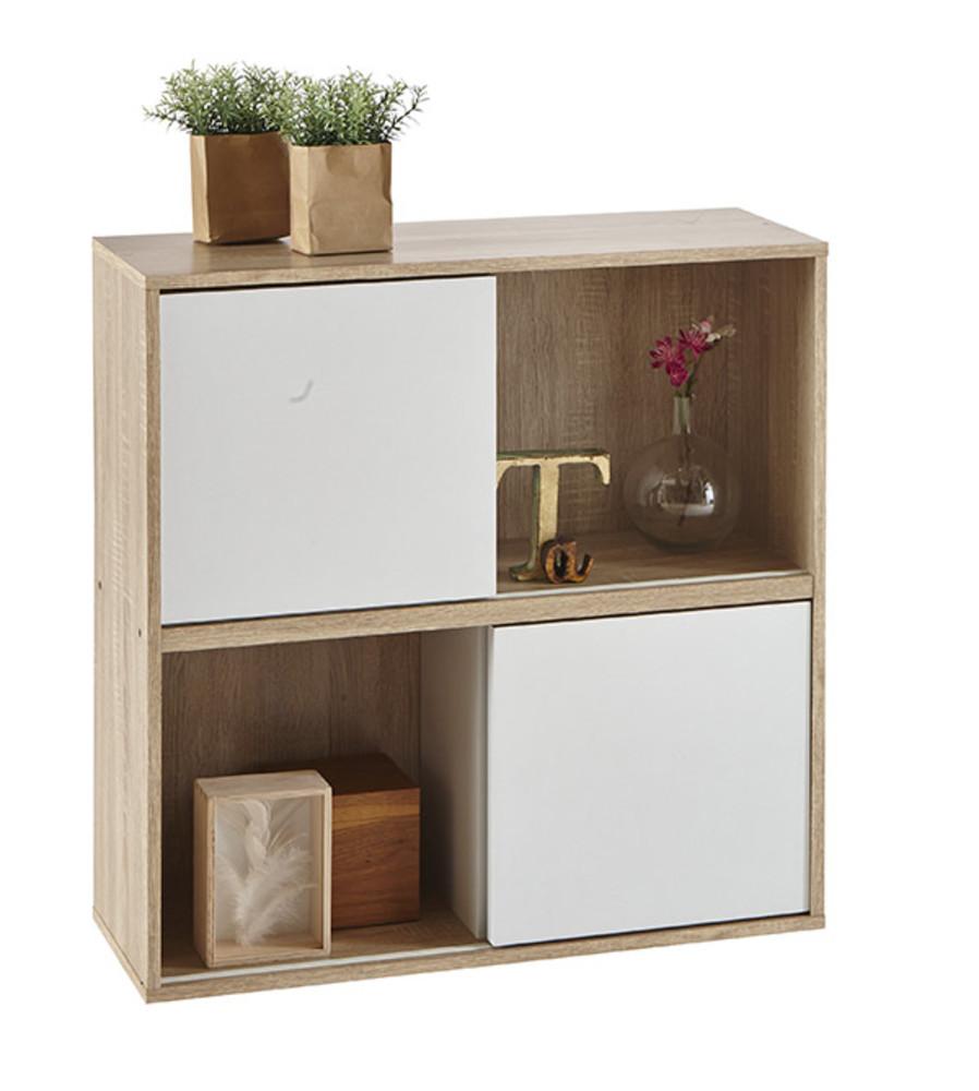 rangement 4 cases 2 portes slide chene blanc. Black Bedroom Furniture Sets. Home Design Ideas