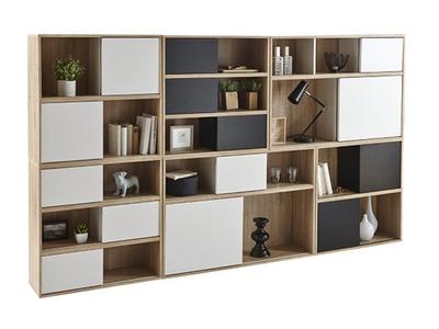 rangement 4 cases 2 portes slide chene noir. Black Bedroom Furniture Sets. Home Design Ideas