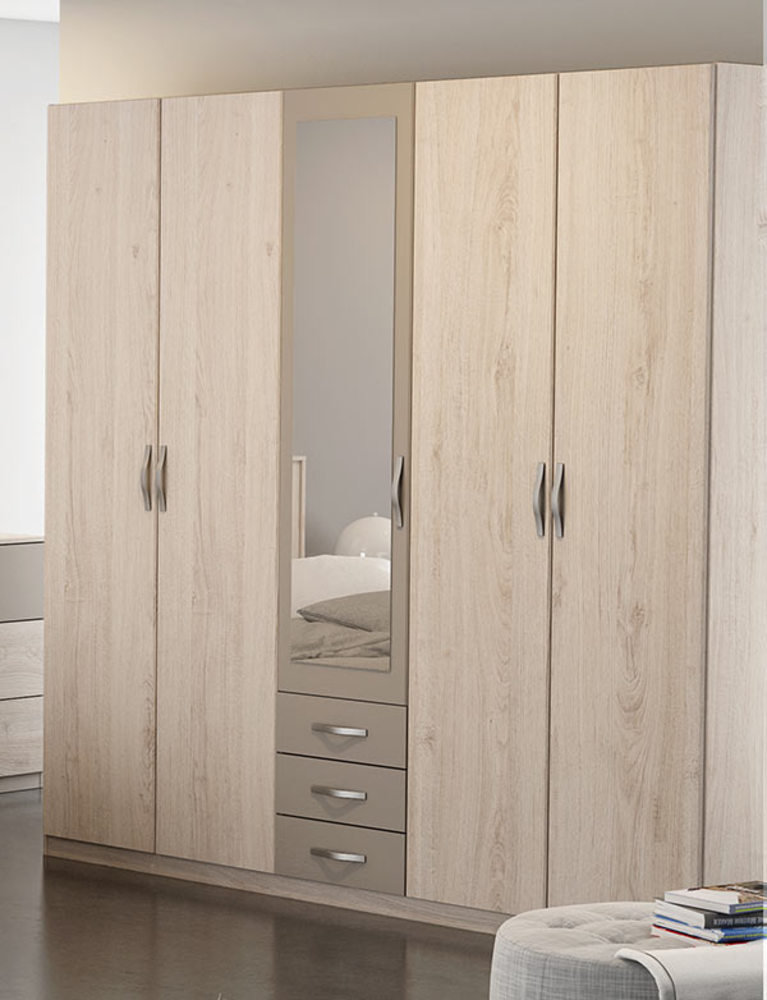 armoire 5 portes 3 tiroirs georgia. Black Bedroom Furniture Sets. Home Design Ideas