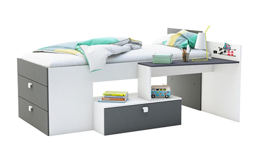 Lit combi move blanc gris for Suspension chambre enfant avec matelas mousse ou memoire de forme