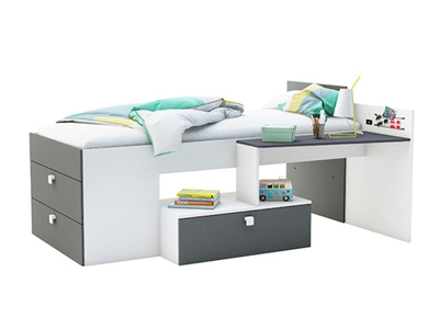 lit combi move blanc gris. Black Bedroom Furniture Sets. Home Design Ideas