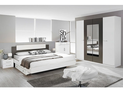 Commode 2 portes 2 tiroirs Borba blanc/gris lave