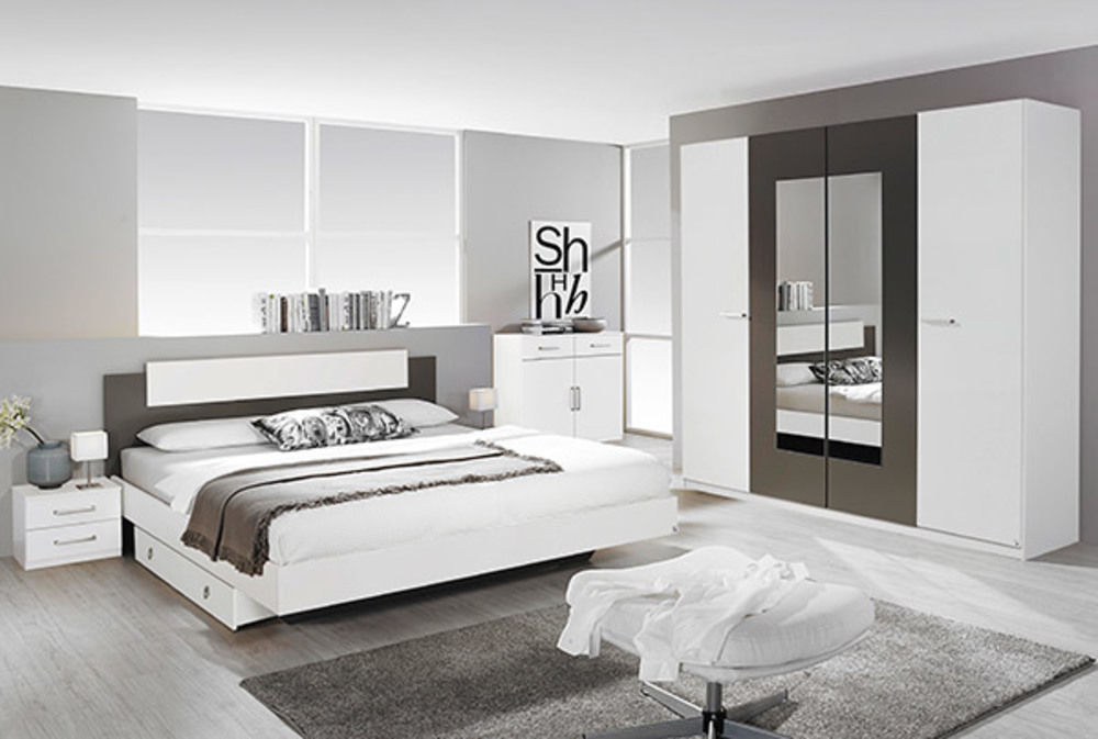 lit borba blanc gris lavel 145 x h 88 x p 195. Black Bedroom Furniture Sets. Home Design Ideas