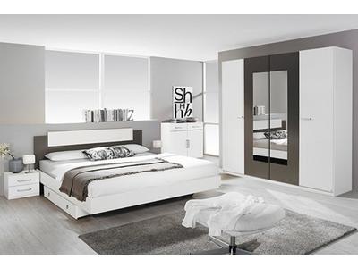 Chevet 2 tiroirs Borba blanc/gris lave