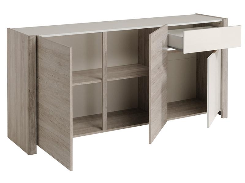 Bahut 3 portes 1 tiroir vilnus chene gris blanc brillant for Bahut 3 portes 3 tiroirs