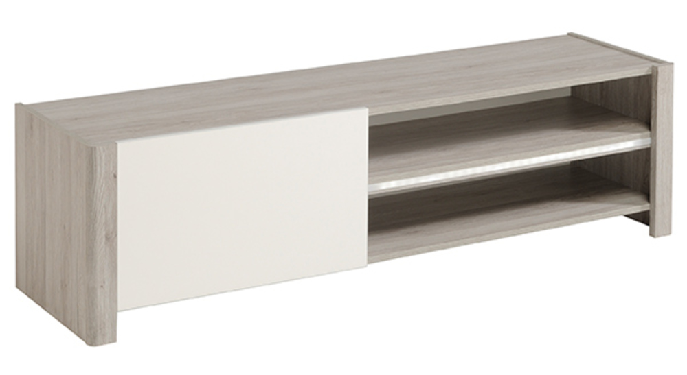 meuble tv vilnus chene gris blanc brillant. Black Bedroom Furniture Sets. Home Design Ideas