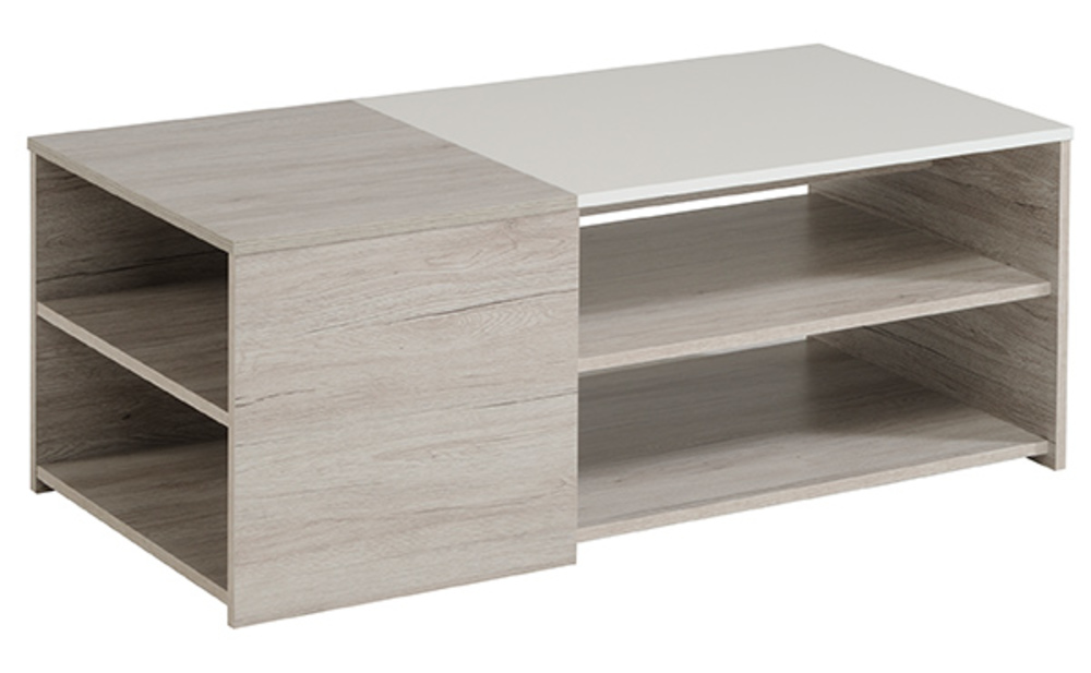 table basse luneo chene gris blanc brillant. Black Bedroom Furniture Sets. Home Design Ideas