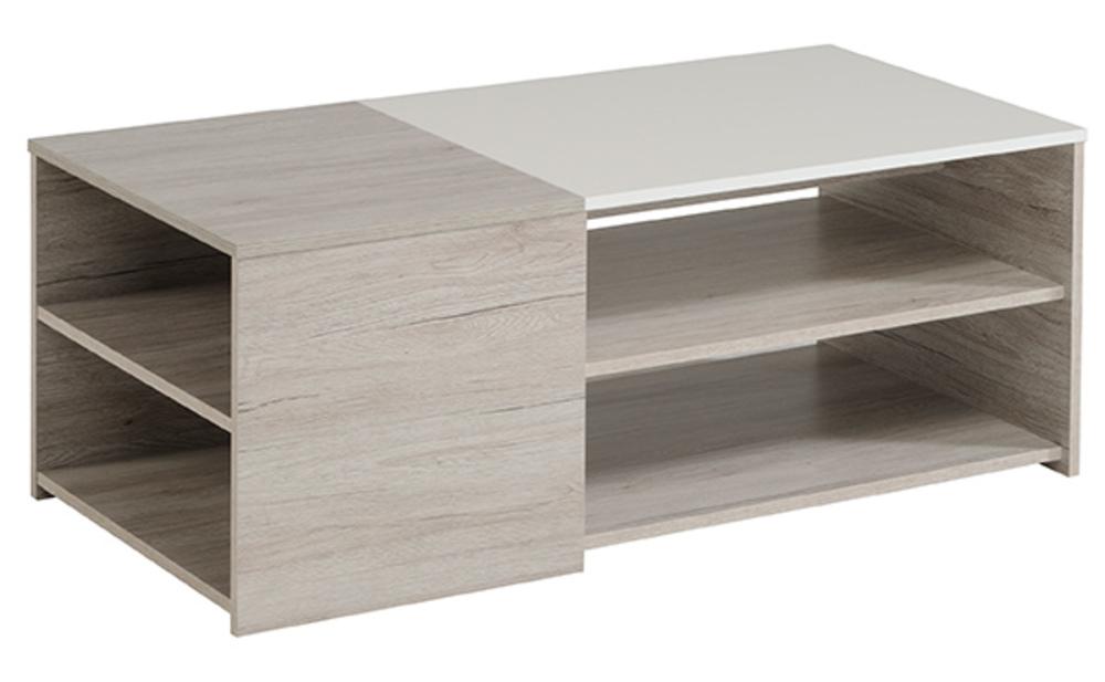 table basse luneo chene gris blanc brillant. Black Bedroom Furniture Sets. Home Design Ideas