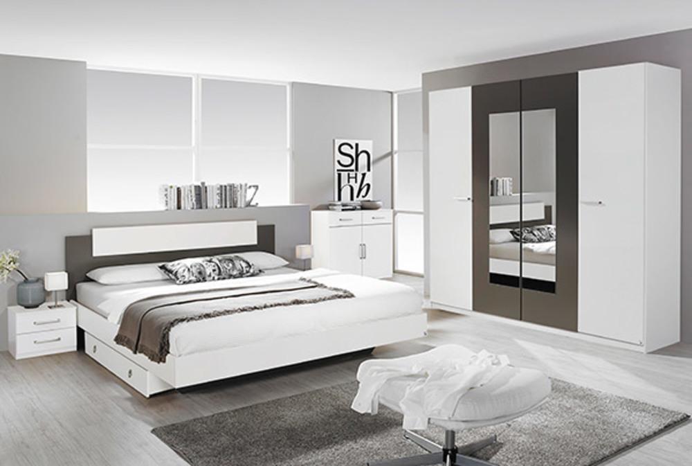 Lit borba blanc gris lave for Ensemble lit armoire adulte