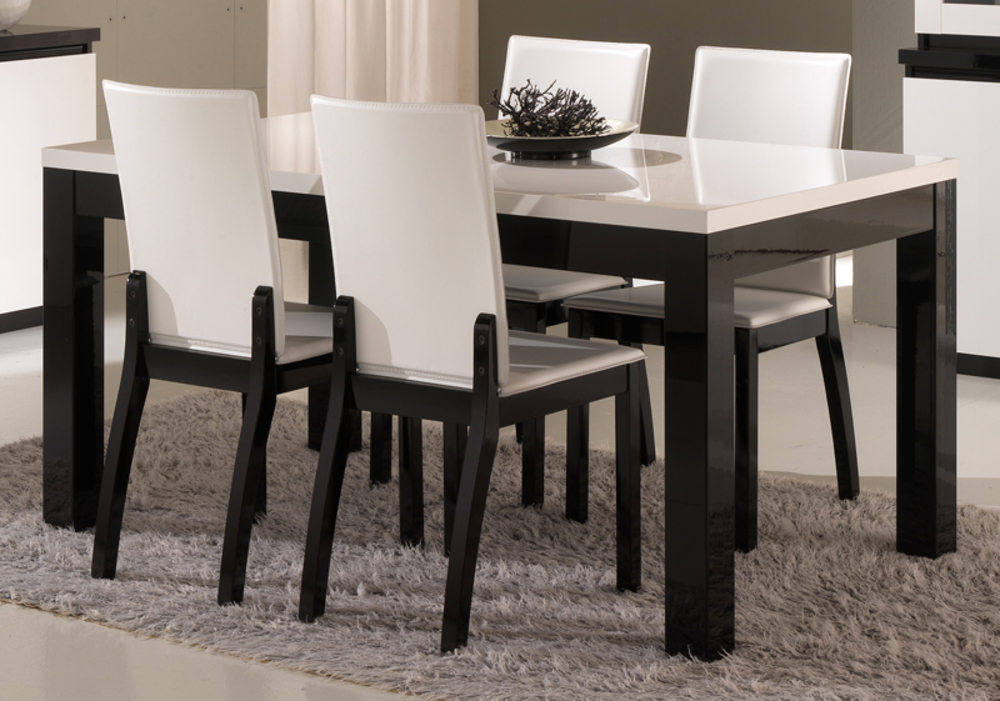 table de repas roma laqu bicolore noir blanc l 138 x h 76 x p 80. Black Bedroom Furniture Sets. Home Design Ideas