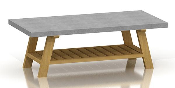 Table basse mine acacia b ton for Table basse aspect beton