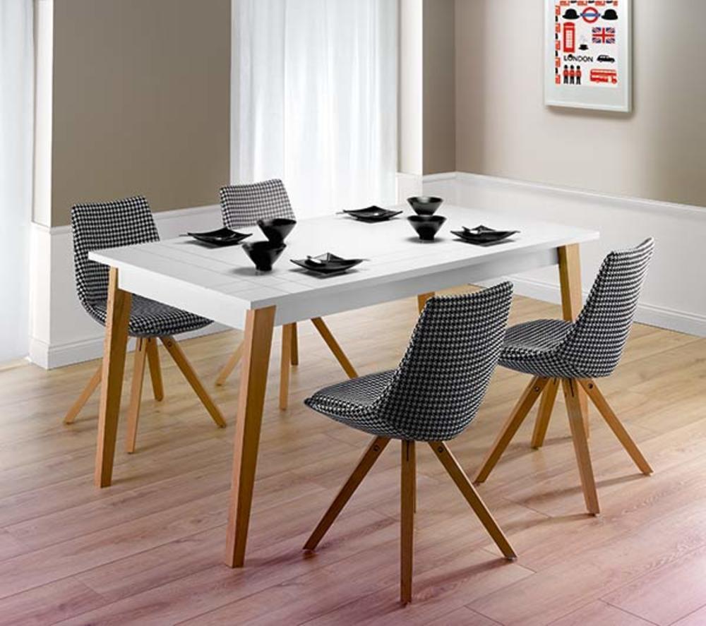 table de repas extensible londra blanc mat. Black Bedroom Furniture Sets. Home Design Ideas