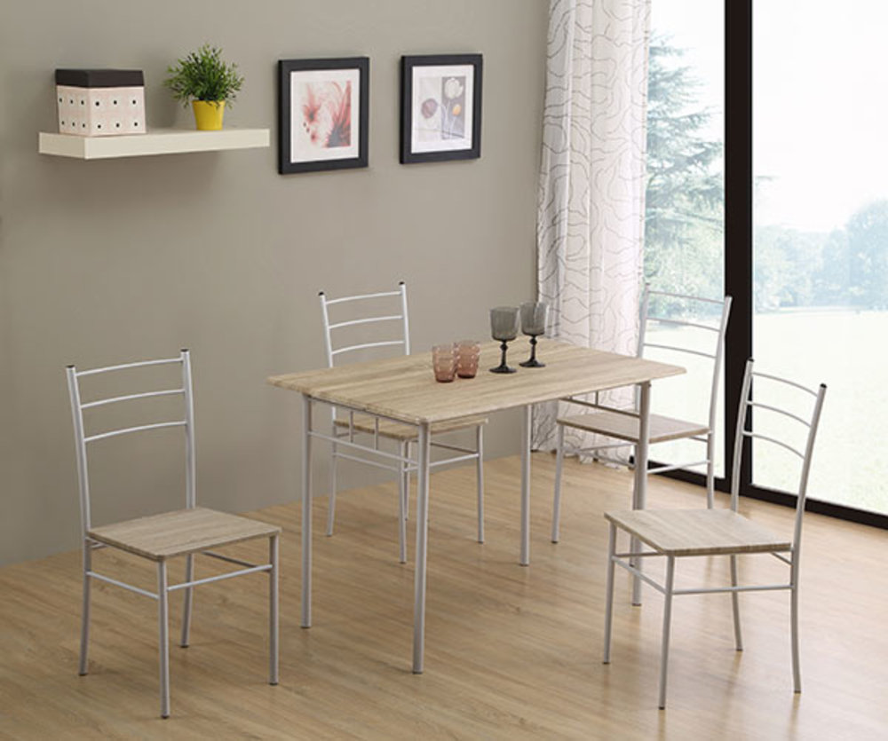Table 4 chaises daily chene grise blanc - Table de cuisine grise ...