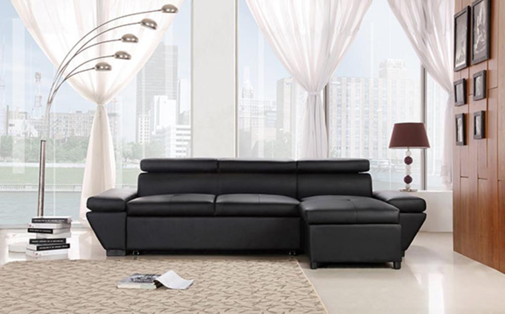 canap d 39 angle droite casanova noir. Black Bedroom Furniture Sets. Home Design Ideas