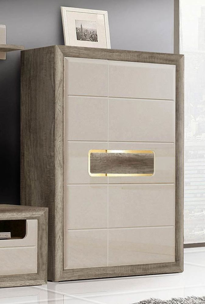 meuble de rangement 2 portes tiziano chene antique beige brillant. Black Bedroom Furniture Sets. Home Design Ideas