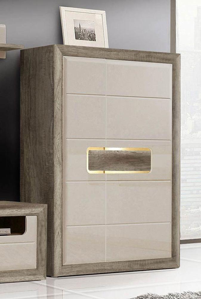 Meuble de rangement 2 portes tiziano chene antique beige for Meuble rangement sejour