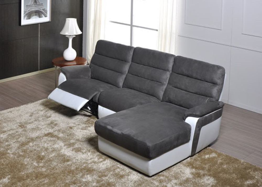 Canap d 39 angle droit relax electrique biaritz aruba gris for Canape relax but