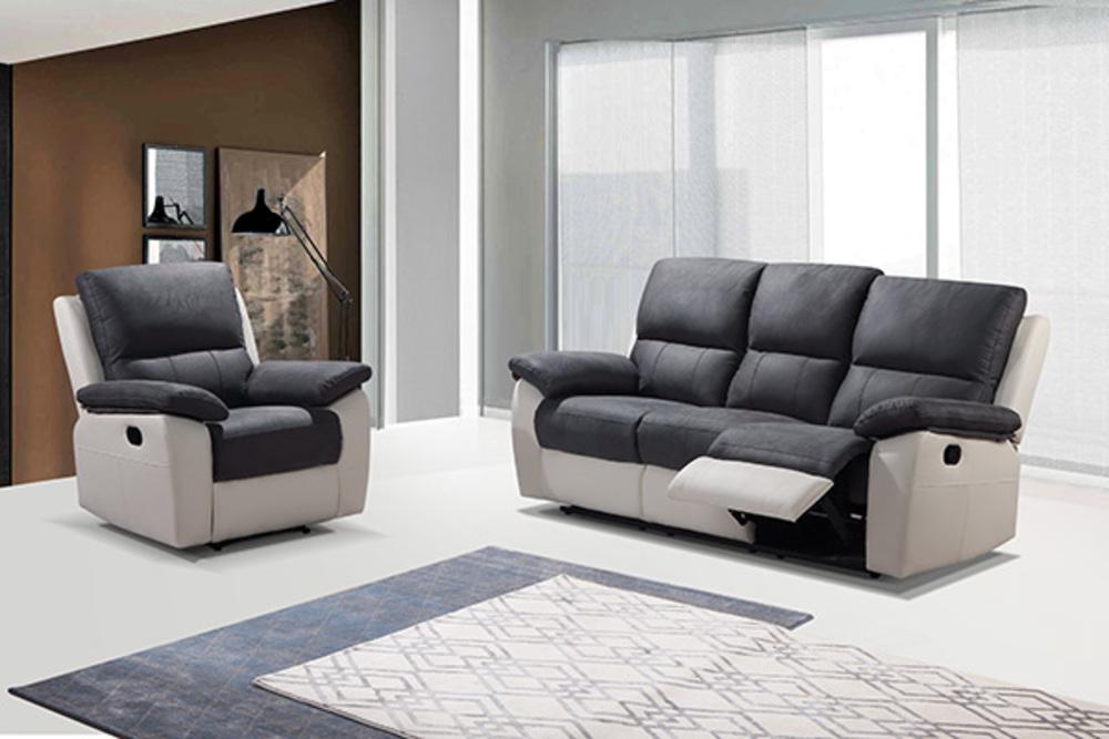 canap 3 places 2 relax manuel berlin luba gris fonc pu blanc. Black Bedroom Furniture Sets. Home Design Ideas