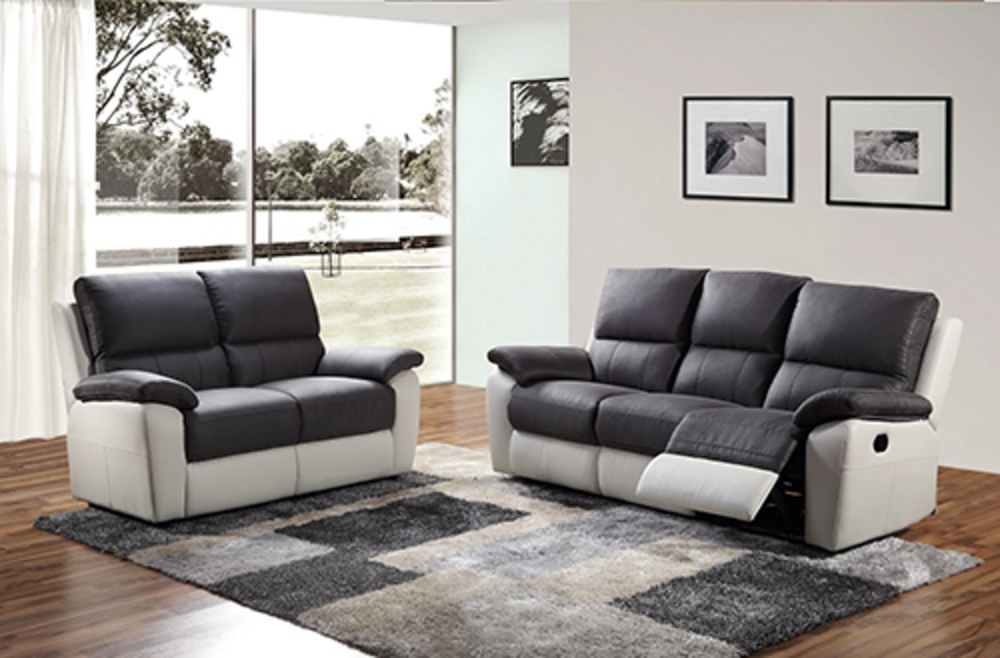 canape 2 places 2 relax manuel delhi luba gris fonce pu blanc. Black Bedroom Furniture Sets. Home Design Ideas