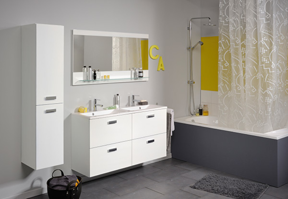 Bloc 90 studio 2 laque blanc - Meuble salle de bain blanc laque brillant ...