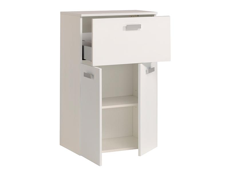 Meuble bas 1 tiroir 2 portes studio 2 laque blanc for Meuble bas laque blanc