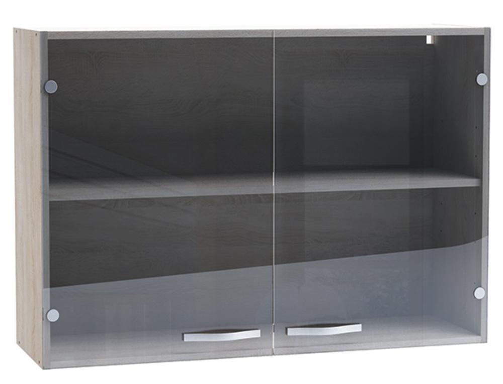 Haut 2 portes verre bianca chene bross for Meuble haut porte en verre