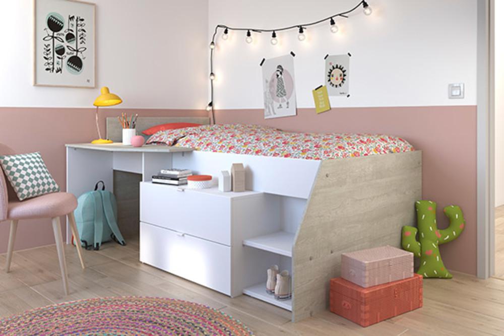 lit sur lev milky blanc megeve gris loft. Black Bedroom Furniture Sets. Home Design Ideas