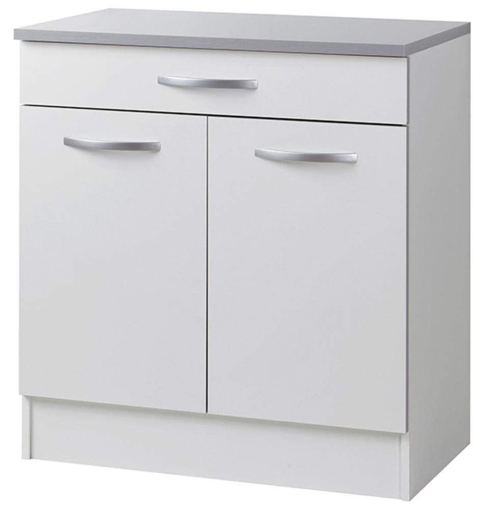 Element bas 2 portes 1 tiroir season blanc for Element bas salle de bain