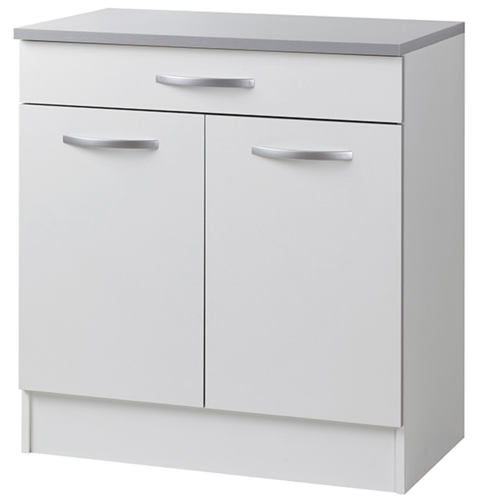 Element bas 2 portes 1 tiroir season blanc blanc mat for Element bas salle de bain