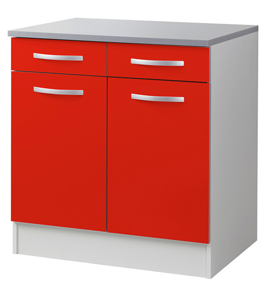 Element bas 2 portes 2 tiroirs season rouge for Element de cuisine bas
