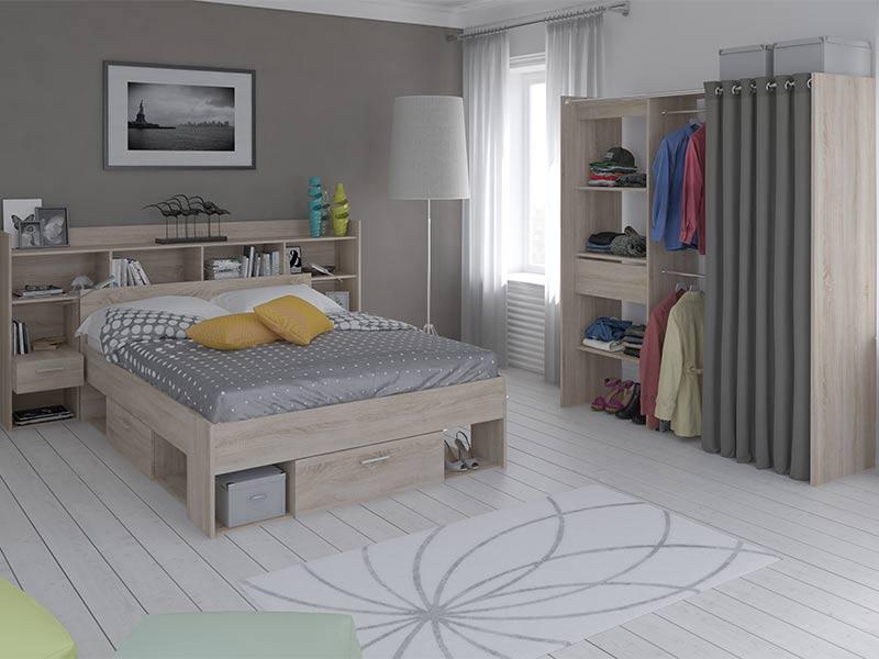 environnement de lit liseuse led chicago chene brosse. Black Bedroom Furniture Sets. Home Design Ideas