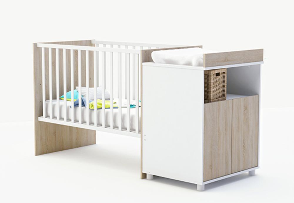 Chambre Bébé Cora : Lit bebe evolutif joyce chene brosse blanc perle
