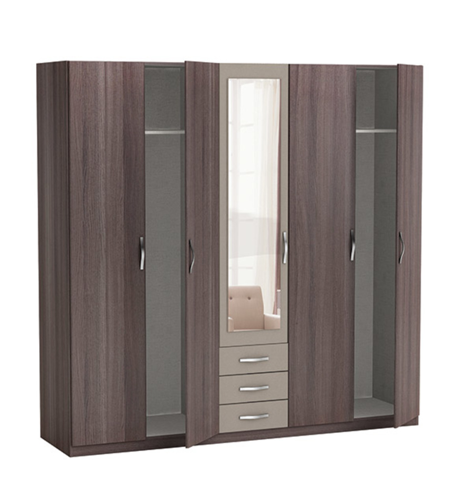 armoire 5 portes 3 tiroirs georgia chene vulcano basalte. Black Bedroom Furniture Sets. Home Design Ideas