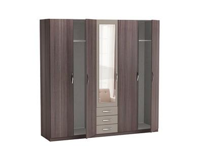 armoire 5 portes 3 tiroirs georgia chene vulcano basalte. Black Bedroom Furniture Sets. Home Design Ideas