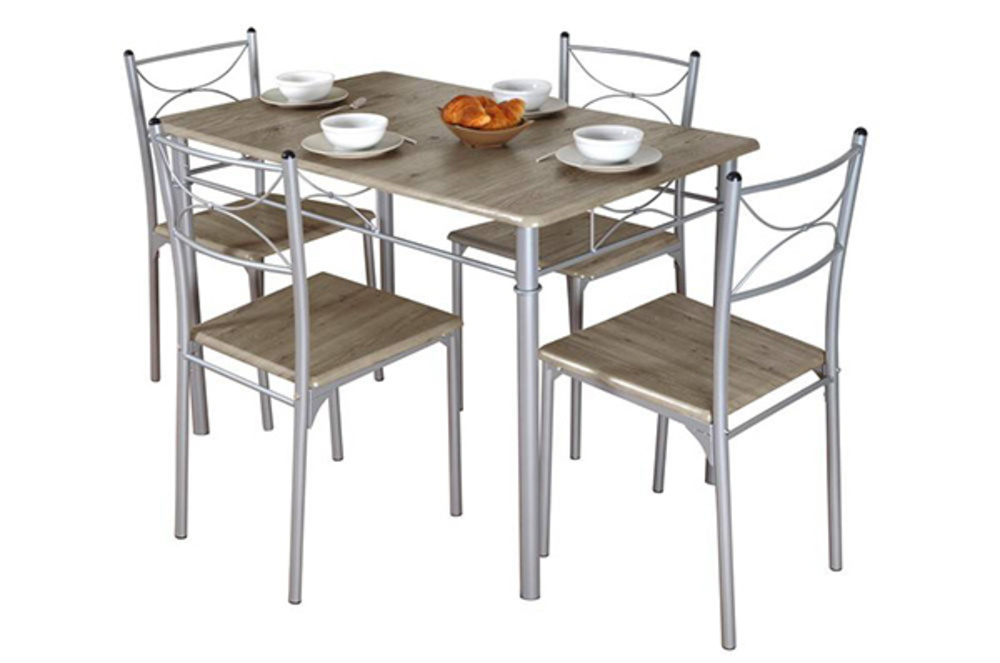 Table 4 chaises tuti chene for Table chaise de cuisine