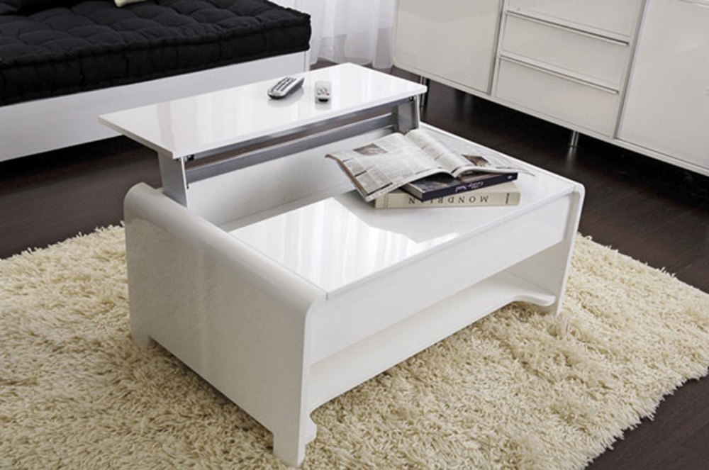 Table basse relevable san francisco blanc brillant for Table de salon relevable