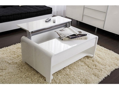 table basse relevable domino plus blanc brillant chene. Black Bedroom Furniture Sets. Home Design Ideas