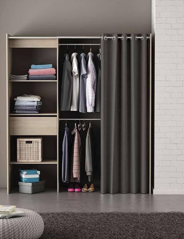 Kit placard extensible rideau chicago chene brosse - Rideau armoire et dressing ...